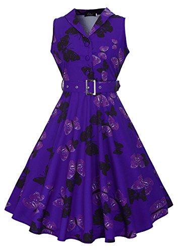 Womens 50s sin mangas con cuello en V rockabilly vintage vestido de té con cinturón desmontable Mariposa azul