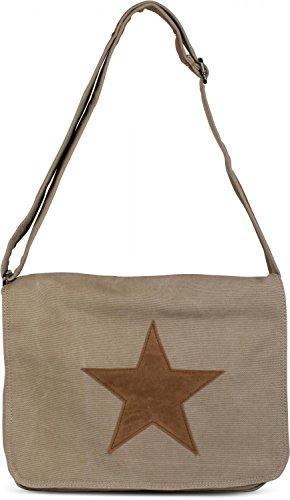 styleBREAKER bolso de bandolera de tela con estrella de cuero artificial cosida, bolso, unisex 02012068, Color Gris Beige