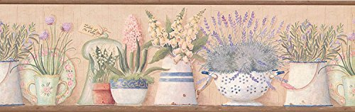- Wallpaper Border Green Lavender Flowers in Pitchers & Bowls on Shelf Brown Trim