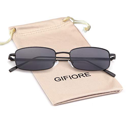 Vintage Small Sunglasses Square Metal Frame Candy Color Lens Glasses (Black, 52) ()
