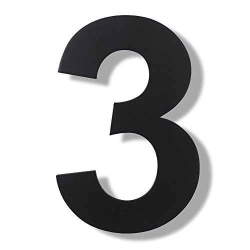 (Mellewell Modern Floating House Numbers, Super Large 12 Inch, Black Finish, Stainless Steel 18-8, Number 3 Three)