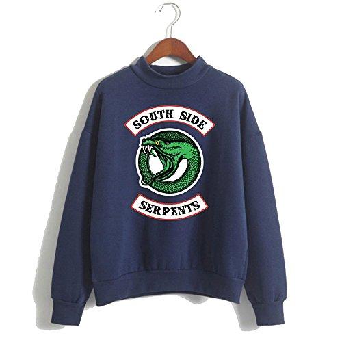 Maglietta Felpa Giacca Hoodie Pullover Southside Hooded Serpents Cappuccio Blue Enjoyyourlife Lunghe Riverdale Maglione Sweatshirt Con Sweater Maniche qxZn4tY6w