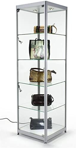 Displays2go Tempered Glass Curio Cabinet with 6 Halogen Lights, Free-Standing, Locking with Floor Levelers and 4 Green Edge Glass Shelves – Silver, Aluminum