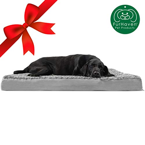 Furhaven Pet Dog Bed | Deluxe Orthopedic Mat Ultra Plush Faux Fur Traditional Foam Mattress Pet Bed w/ Removable Cover for Dogs & Cats, Gray, Jumbo