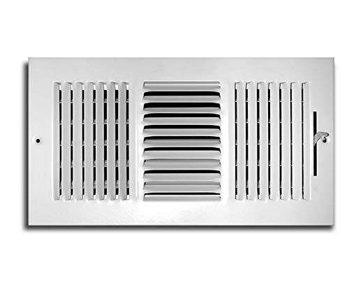 Truaire C103M 10X06(Duct Opening Measurements) 3-Way Supply 10 6-Inch Sidewall or Ceiling Register Grille, White, Inch x 6-Inch, Powder Coated (3 1 4 X 10 Vent)