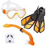 ELEMENTEX Naga Sports Series Kids Snorkel Set with Dry Top Snorkel