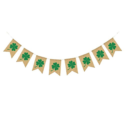 St. Patrick's Day Decorations Tinksky Irish Four Leaf Clover Shamrock Burlap Banner Flags