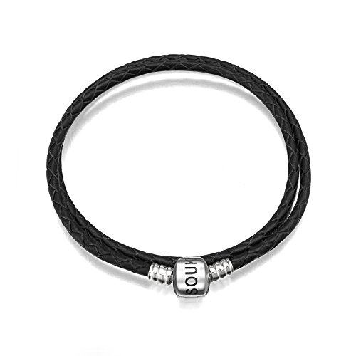 (SOUKISS Genuine Black Leather Woven Bracelet with 925 Sterling Silver Barrel Snap Clasp Bead Bracelet for Charms (38 cm-15.0 inches))