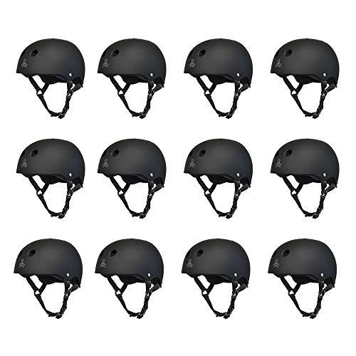 T8 Liner Sweatsaver Helmet (Triple 8 Skater Hardened Skate Helmet w/ Sweatsaver Liner, Black Rubber - Large (12 Pack))