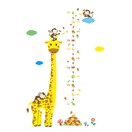 - wintefei Beautiful Home Decorate Wall Sticker Cartoon Giraffe Monkey Kids Height Chart Wall Sticker Nursery Kids Room Decal