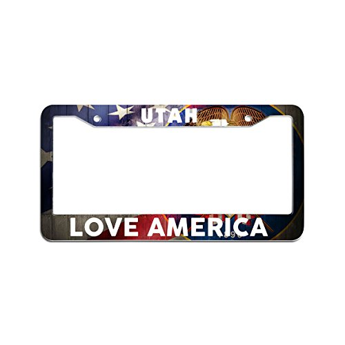 Hensonata Plactic License Plate Frame Utah Love America Pattern License Plate For Girls And Boys With Screws (Utah Pattern)