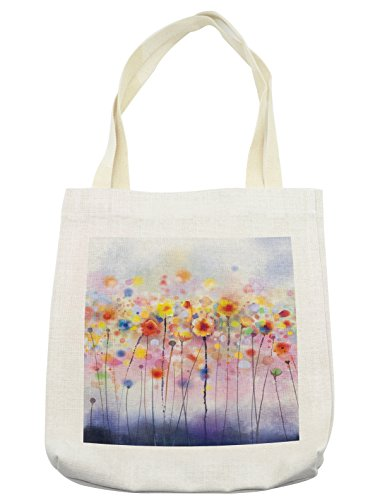 (Lunarable Watercolor Flower Tote Bag, Flowers in Soft Colors Dreamy Abstract Colorful Blurred Display, Cloth Linen Reusable Bag for Shopping Groceries Books Beach Travel & More, Cream)