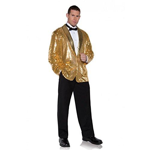 Underwraps Men's Plus-Size Sequin Jacket, Gold, XX-Large (Secret Agent Tuxedo Adult Mens Costume)