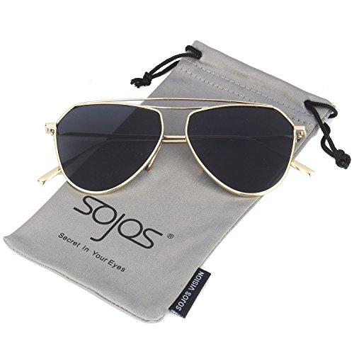 SojoS Aviator Flat Mirror Lenses Sunglasses Classic Metal Double Bridge Glasses SJ1040 With Gold Frame/Grey - Sunglasses Bridge Without Nose
