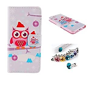 WQQ Dust Plug and Christmas Owl PU Leather Full Body Case with Card Slot and Stand for iPhone 6