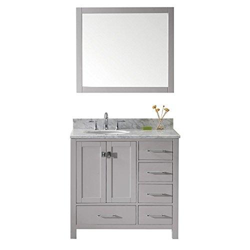 Virtu USA GS-50036-WMRO-CG-002 Caroline Avenue Single Bathroom Vanity with Marble Top/Round Sink with Polished Chrome Faucet/Mirror, 36