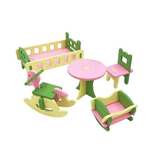 (Twenis 1/12 Dollhouse Furniture Set of 5 Baby Nursery Room Accessories in Wood)