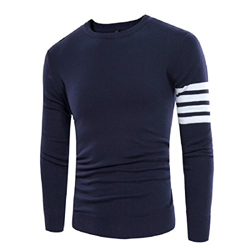 Coolred Mens Plus Size Comfy Striped Pullover Sweater Shirts Navy Blue Small