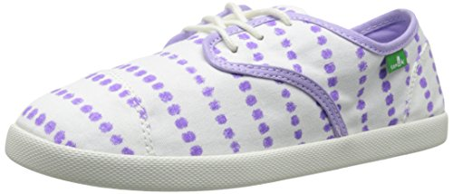 Sanuk Kids Lil Mollie Prints Laced Shoe (Toddler/Little Kid/Big Kid), White/Hot Purple Dots, 3 M US Little Kid by Sanuk