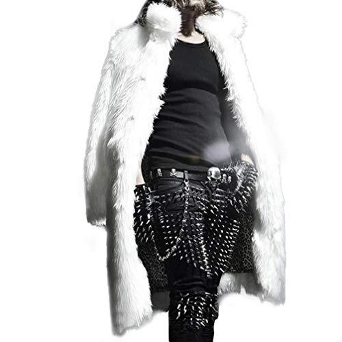 HTHJSCO Mens Faux Fur Coat Thicker Long Jacket Warm Overcoat Outwear Cardigan (White, S) by HTHJSCO