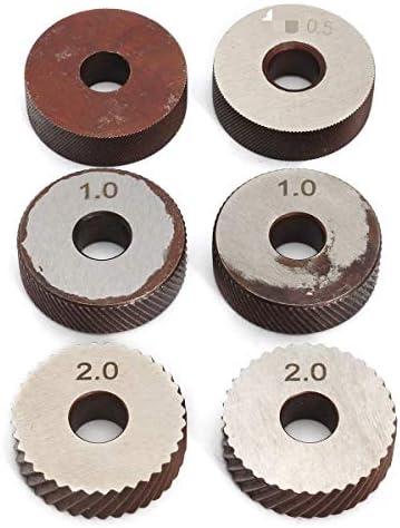 NO LOGO Rändelwerkzeug 1set 26mm Dual-Rad Rändelwerkzeug 0.5mm 1mm 2mm Stahl Dia Doppelräder Linear Pitch Knurl Set Lathe Cutter Werkzeugmaschinen Handwerkzeug-Sets