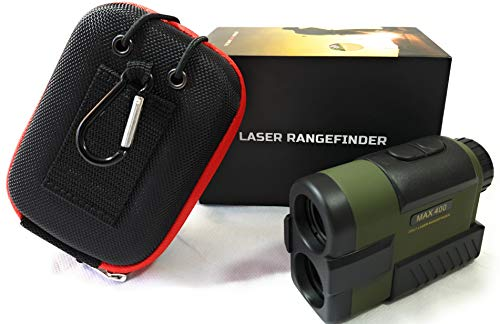 Golf Hunting Rangefinder - Laser Range Finder with Slope/Distance Mode, Target Lock Technology, 6X Magnification, 400 Yard Range, Travel Case - Free Battery. Made Tough for Our Environment