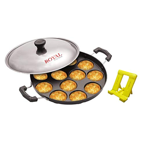 Royal Non Stick 12 Cavity Appam Patra  Paniyarakkal with Lid  with Mobile Stand