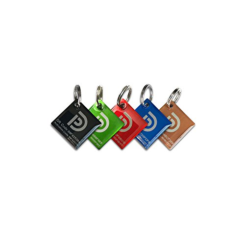 PetDwelling Gemstone QR Code Pet ID Tags (5 Tags) Links to Free Online Pet Profile/Scanned GPS Location (Xmas Gift)