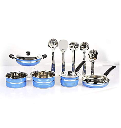 MAHAVIR Stainless Steel Cookware Set  Blue