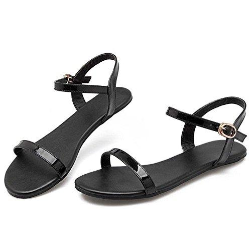 COOLCEPT Mujer Moda Al Tobillo Sandalias Punta Abierta Slingback Planos Zapatos Negro