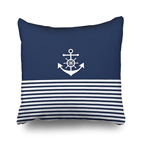 Pakaku Throw Pillows Covers for Couch/Bed 16 x 16 inch,Nautical Sea Anchor Stripes Blue White Home Sofa Cushion Cover Pillowcase Gift Decorative Hidden Zipper Summer Beach Sunlight