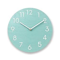 Mint green wall clock. Wood wall clock. Numbers clock. Modern wall clock. Contemporary wall clock. Solid color wall clock. Kitchen clock.