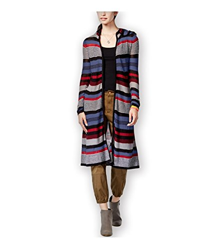 - Planet Gold Junior's Multi Stripe Open Front Long Hooded Cardigan Sweater, Red Winest, Large