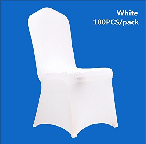 Rapesee 100 PCS White Spandex Chair Covers for Wedding Supply Party Banquet Decoration