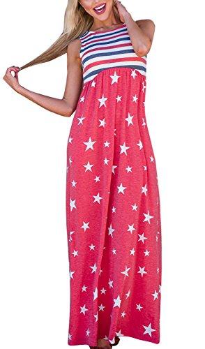 JOKHOO Women's Sleeveless Star and Stripe Print Summer Casual Maxi Tank Dress USA Flag (B-1, M) (Dress Formal Johnny)