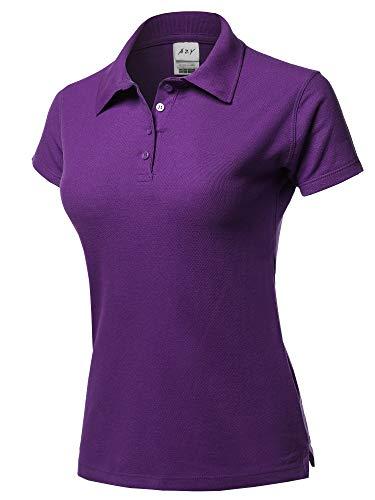 - Basic Casual Essentials 4-Button Junior-Fit PK Cotton Pique Polo Shirt Purple M
