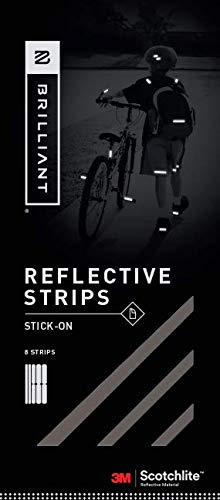 Brilliant Reflective Stick-on Reflector Tape for Biking Adhesive Stick-on Strips for Clothing Made of 3M Scotchlite Reflective Safety Material – Washable and Waterproof – Pack of 10 Strips