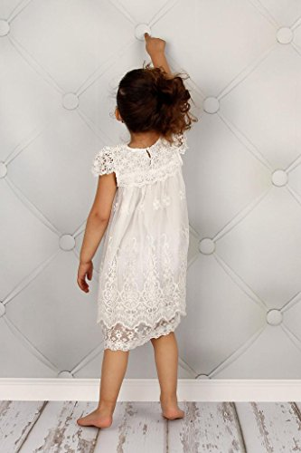 Bow Dream Vintage Rustic Baptism Lace Flower Girl's Dress Off White 5 by Bow Dream (Image #5)