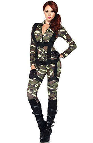 [Mememall Fashion Pretty Paratrooper Army Military Outfit Adult Women Costume] (Adult Pretty Paratrooper Costumes)
