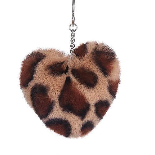 Faux Rabbit Fur Pompom Ball Leopard Pendant Key Chain Handbag Car Charm Key Ring (Colour - #06) ()