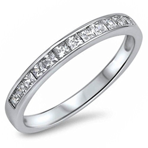 Oxford Diamond Co Clear Cubic Zirconia Princess Cut Eternity Band .925 Sterling Silver Ring Size 9