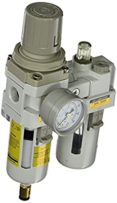 "PneumaticPlus SAU3010M-N03DG 2 Piece Compressed Air Filter Regulator Lubricator Combination, 3/8"" Pipe Size, NPT-Auto Drain, Poly Bowl, 10 m with Gauge"