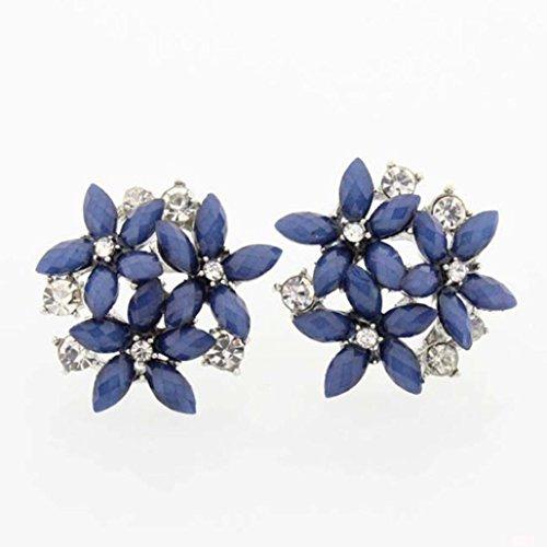 WensLTD Clearance! 1 Pair Fashion Women Crystal Stud Earrings 3 Flower Brincos Pendientes Earrings (Blue) ()