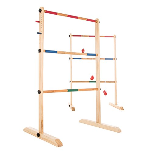 Hey! Play! Ladder Toss Game-Wooden Outdoor Set with 6 Bolas and Storage Bag-Great Backyard Activity for BBQ or Tailgate-Fun for Kids and Adults]()