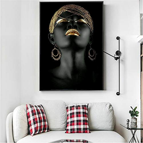JESC Black African Nude Woman Oil Painting on Canvas Posters and Prints Scandinavian Wall Art Picture for Living ()