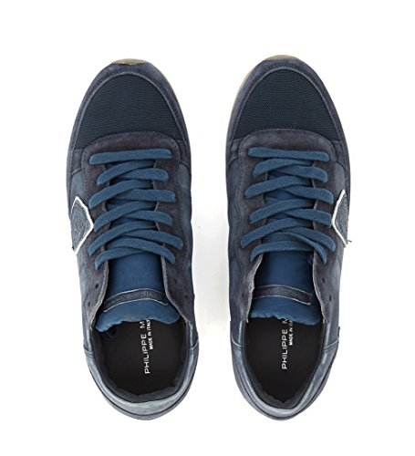 Philippe Model Men's Tropez Blue Leather and Suede Sneaker Blue get authentic for sale sale deals clearance wholesale price BdJrFIKH