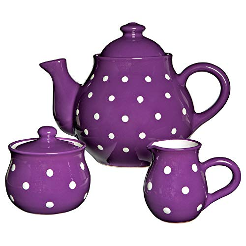 City to Cottage Handmade Purple and White Polka Dot Large Ceramic 1,7l/60oz/4-6 Cup Teapot, Milk Jug, Sugar Bowl Set, Pottery Tea Set, Housewarming Gift for Tea Lovers