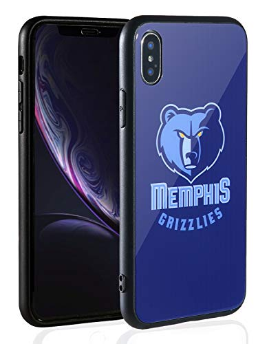 (Sportula NBA Phone Case - 9H Tempered Glass Back Cover Silicone Rubber Bumper Frame Compatible Apple iPhone X/iPhone Xs (Memphis Grizzlies))