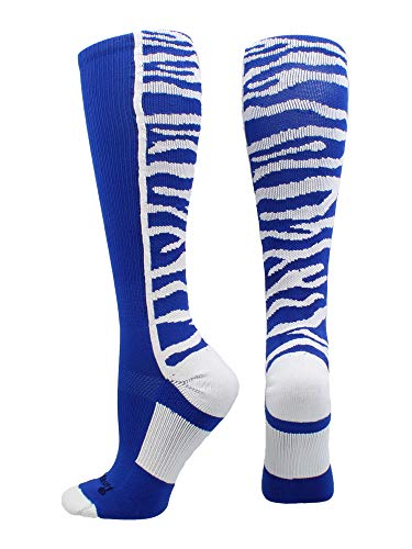 MadSportsStuff Crazy Socks with Safari Tiger Stripes Over The Calf Socks (Royal/White, Large)