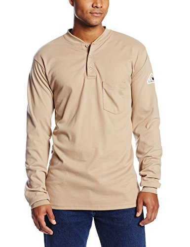 Bulwark Flame Resistant 6.25 oz Cotton Excel FR Mens Long Sleeve Tagless Long Henley Shirt with Three Button Placket, Khaki, 2X-Large Long